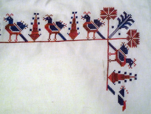Picture showing stitched birds and trees