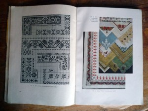 Page spread from inside book with cross stitch patterns