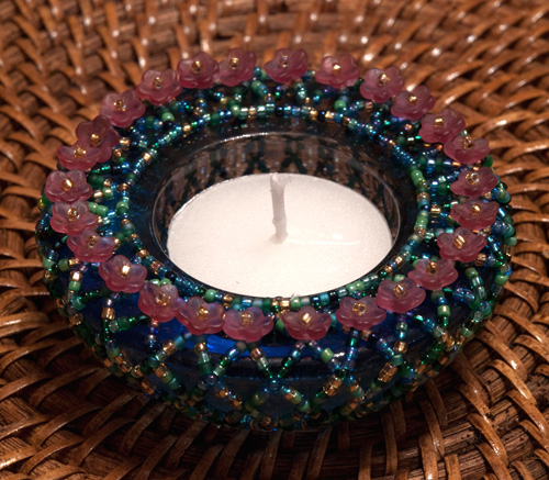 Image of a beaded tealight holder