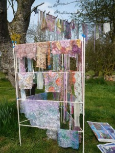 Our lace samples, drying in the sun