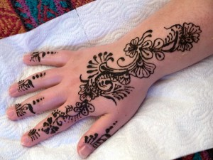 My hand decorated with henna